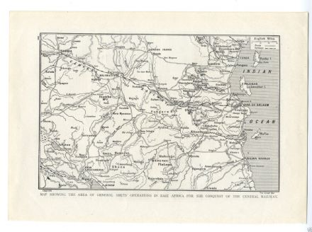 1917 WW1 MAP EAST AFRICA Central Railway GENERAL SMUTS (220)